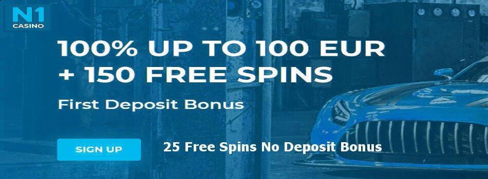 N1 casino: 25 free spins no deposit bonus