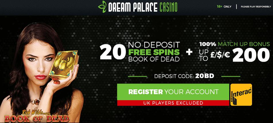 Dream Palace Casino: 20 free spins no deposit